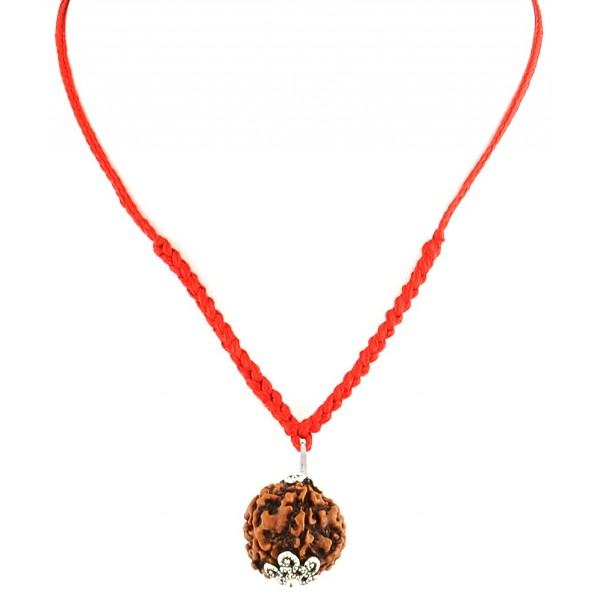5 Face Natural Rudraksha Bead In Red Thread - 18MM